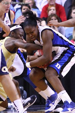 Key tieup gave Duke the ball  - Duke Tags: #13 Karima Christmas - GT Players: #15 Tyaunna Marshall