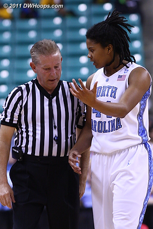 Trying to explain away a foul  - UNC Players: #44 Tierra Ruffin-Pratt