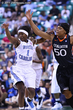 DWHoops Photo  - UNC Players: #1 She'la White - MIA Tags: #50 Maria Brown