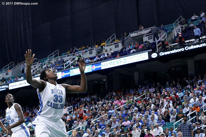 Something's up there!  - UNC Players: #33 Laura Broomfield