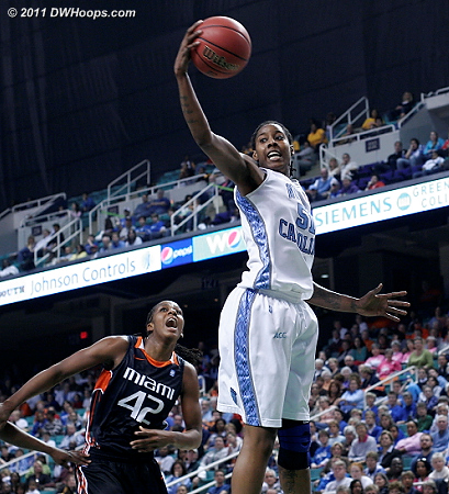 Spectacular rebound by Breland  - UNC Players: #51 Jessica Breland - MIA Tags: #42 Shenise Johnson