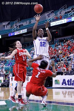 Blocking  - Duke Tags: #12 Chelsea Gray - NCSU Players: #1 Myisha Goodwin-Coleman, #11 Emili Tasler