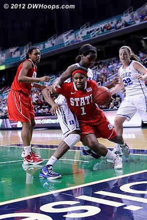 Foul on Williams sequence  - Duke Tags: #1 Elizabeth Williams - NCSU Players: #1 Myisha Goodwin-Coleman