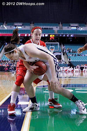 Kastanek's first foul - her second came soon after, and the Pack wasn't the same with her on the bench  - NCSU Players: #23 Marissa Kastanek