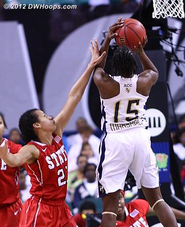 Foul on Donovan though Marshall missed both freebies  - NCSU Players: #21 Erica Donovan - GT Tags: #15 Tyaunna Marshall