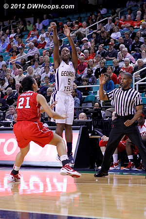 After State cut it to five a Walthour trey made it 26-18 Tech  - NCSU Players: #21 Erica Donovan - GT Tags: #5 Metra Walthour