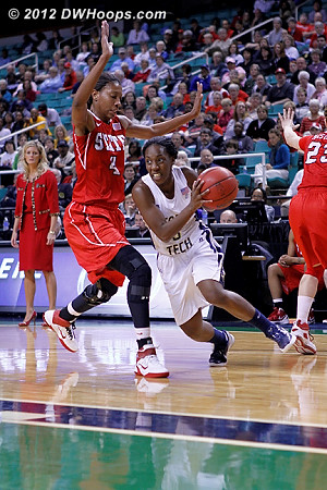 DWHoops Photo  - NCSU Players: #4 Tia Bell - GT Tags: #5 Metra Walthour