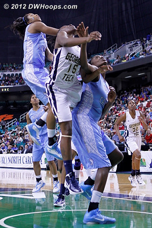 DWHoops Photo  - UNC Players: #5 Shannon Smith, #32 Waltiea Rolle - GT Tags: #15 Tyaunna Marshall
