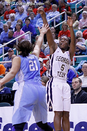 DWHoops Photo  - UNC Players: #21 Krista Gross - GT Tags: #5 Metra Walthour