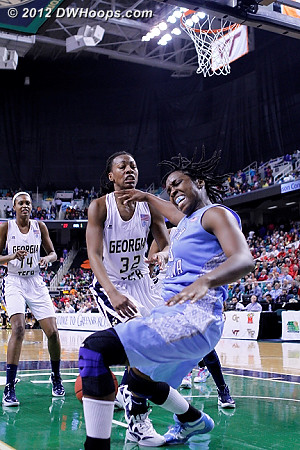 DWHoops Photo  - UNC Players: #33 Laura Broomfield - GT Tags: #32 Chelsea Regins