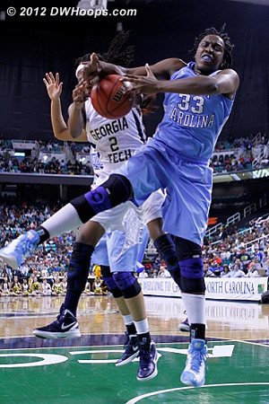 DWHoops Photo  - UNC Players: #33 Laura Broomfield - GT Tags: #2 Mo Bennett