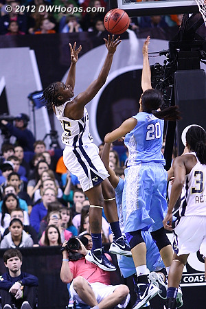 DWHoops Photo  - UNC Players: #20 Chay Shegog - GT Tags: #15 Tyaunna Marshall