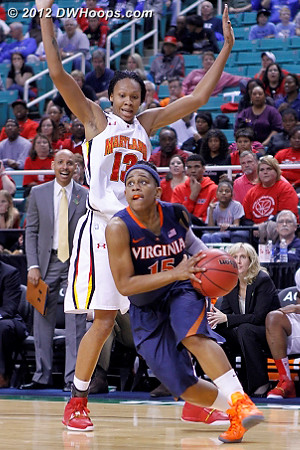DWHoops Photo  - UVA Players: #15 Ariana Moorer - MD Tags: #13 Alicia DeVaughn, Assistant Coach Marlin Chinn