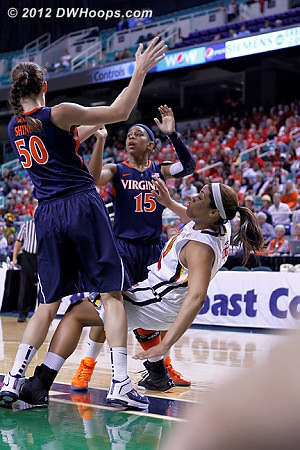 DWHoops Photo  - UVA Players: #15 Ariana Moorer, #50 Chelsea Shine - MD Tags: #22 Kim Rodgers