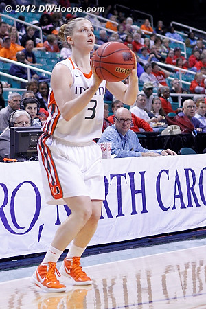 Yderstrom hit a three for Miami's first score  - MIA Players: #3 Stefanie Yderstrom