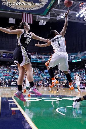 Miami miscue  - WAKE Players: #31 Lindsy Wright - MIA Tags: #1 Riquna Williams