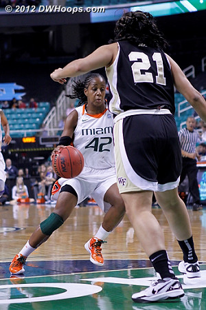Shenise went right around Sandra  - WAKE Players: #21 Sandra Garcia - MIA Tags: #42 Shenise Johnson