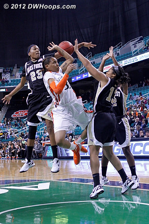 Rejection by Walker (right)  - WAKE Players: #13 Mykala Walker, #23 Secily Ray - MIA Tags: #33 Suriya McGuire
