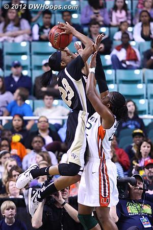 Ray hits to put Wake up by nine  - WAKE Players: #23 Secily Ray - MIA Tags: #42 Shenise Johnson