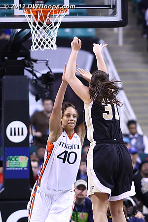 Wright answers with a long deuce  - WAKE Players: #31 Lindsy Wright - MIA Tags: #40 Shawnice Wilson