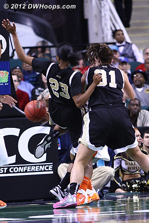 Foul on Williams (who we can't see)  - WAKE Players: #23 Secily Ray, #31 Lindsy Wright