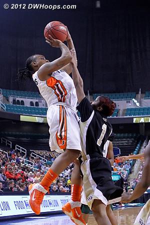 Good defense forces a miss  - WAKE Players: #1 Brooke Thomas - MIA Tags: #1 Riquna Williams