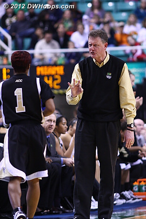 Thomas to the bench after foul #3  - WAKE Players: #1 Brooke Thomas, Head Coach Mike Petersen