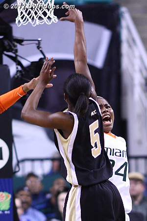 Regular defense wasn't working but apparently a scream helped  - WAKE Players: #5 Chelsea Douglas - MIA Tags: #34 Sylvia Bullock