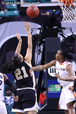 Garcia had been quiet since the first half, until now  - WAKE Players: #21 Sandra Garcia - MIA Tags: #1 Riquna Williams