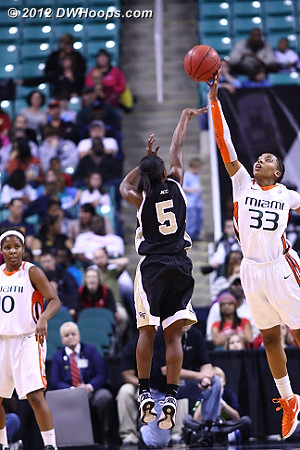 A rejection by McGuire helped spark Miami's comeback  - WAKE Players: #5 Chelsea Douglas - MIA Tags: #33 Suriya McGuire