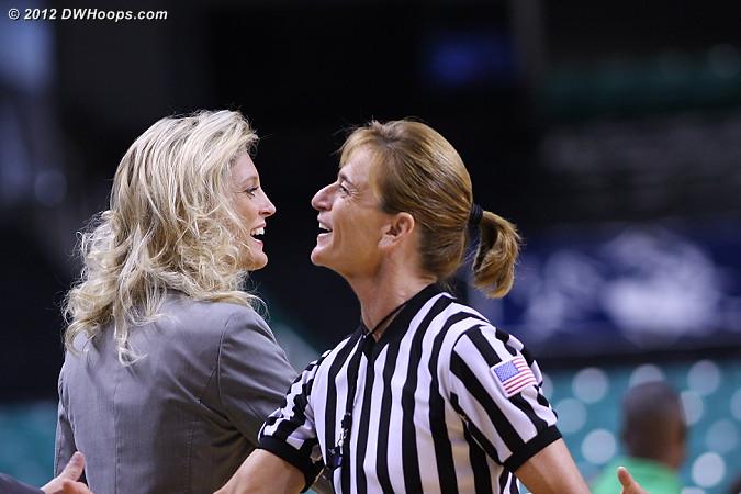 Kellie Harper and Dee Kantner meet before the game  - NCSU Players: Head Coach Kellie Harper