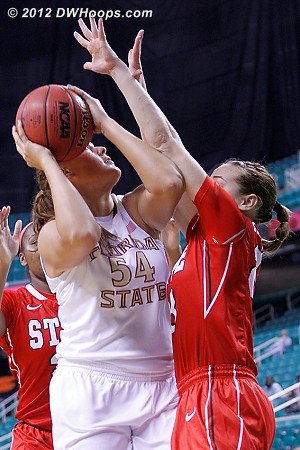 First basket - mismatch inside with Kastanek on Bravard  - FSU Players: #54 Cierra Bravard - NCSU Tags: #23 Marissa Kastanek