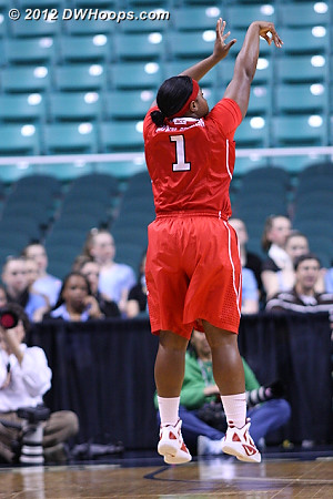 The State three point barrage begins  - NCSU Players: #1 Myisha Goodwin-Coleman