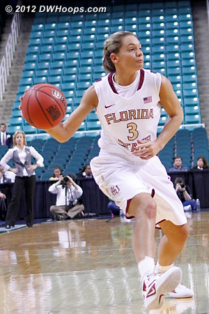 Whipping a bounce pass into the paint, FSU is just a great passing team  - FSU Players: #3 Alexa Deluzio