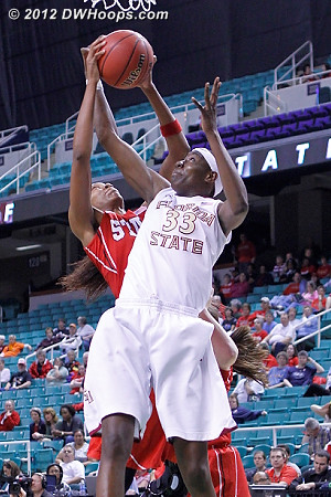 Bell and Howard tangle  - FSU Players: #33 Natasha Howard - NCSU Tags: #4 Tia Bell