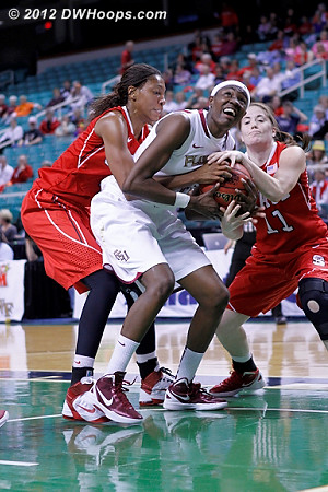 Held ball  - FSU Players: #33 Natasha Howard - NCSU Tags: #4 Tia Bell, #11 Emili Tasler