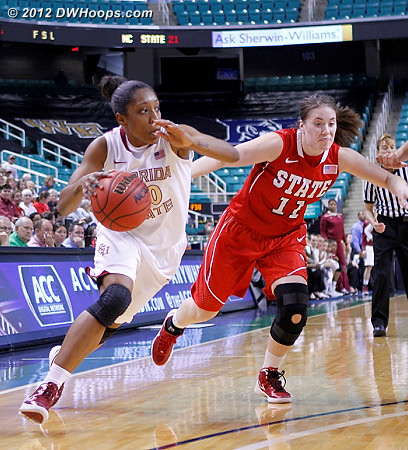 DWHoops Photo  - FSU Players: #00 Chastity Clayton - NCSU Tags: #11 Emili Tasler