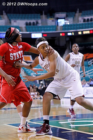 The mutual hand of friendship extended just outside the paint  - FSU Players: #20 Kristi Mokube - NCSU Tags: #22 Bonae Holston