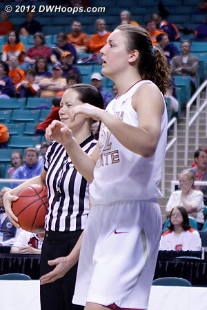 Maj Forsberg and Bresnahan wait for Dee to get the shot clock corrected  - FSU Players: #22 Olivia Bresnahan