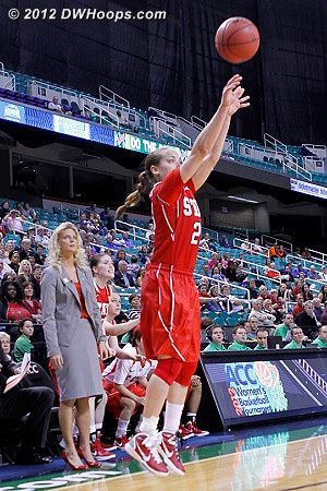 This is the shot that Rob described, where Kastanek had time for a cold drink and to count the fans in the stands before shooting.  It gave NCSU the lead!  - NCSU Players: #23 Marissa Kastanek
