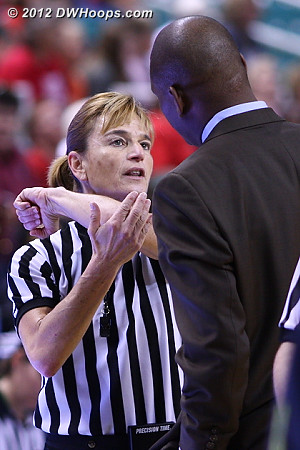 Tia Bell was called for a flagrant 1 as explained to Ken Griffin by Dee Kantner  - NCSU Players: Assistant Coach Ken Griffin