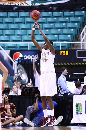 Howard hit this unlikely three from the corner to put FSU up one, 65-64, and it looked like things were going the Noles way  - FSU Players: #33 Natasha Howard