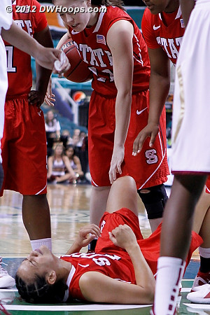 With FSU up two, Donovan took a shot from Howard  - NCSU Players: #21 Erica Donovan