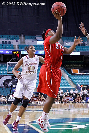Myisha didn't mess around, she smartly drove and scored, putting State up for three and the 2-for-1  - NCSU Players: #1 Myisha Goodwin-Coleman