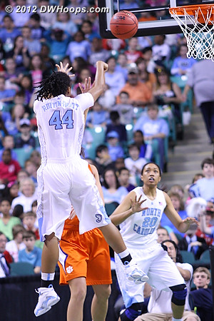Wide open in the paint  - UNC Players: #20 Chay Shegog, #44 Tierra Ruffin-Pratt