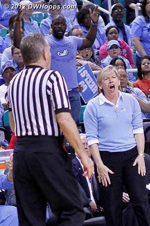 Unhappy with a call  - UNC Players: Head Coach Sylvia Hatchell,  UNC Fans