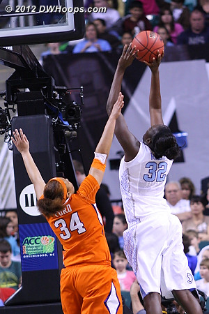 Another Clemson foul  - UNC Players: #32 Waltiea Rolle - CLEM Tags: #34 Natiece Ford