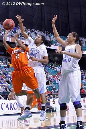 Ruffin-Pratt getting the rejection  - UNC Players: #44 Tierra Ruffin-Pratt - CLEM Tags: #2 Chelsea Lindsay
