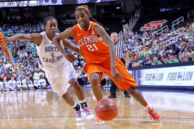Dixon on the bounce  - UNC Players: #1 She'la White - CLEM Tags: #21 Nikki Dixon