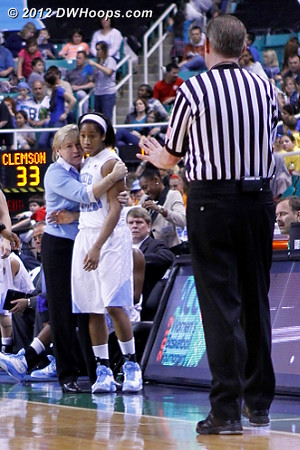 A little calming down  - UNC Players: #10 Danielle Butts, Head Coach Sylvia Hatchell
